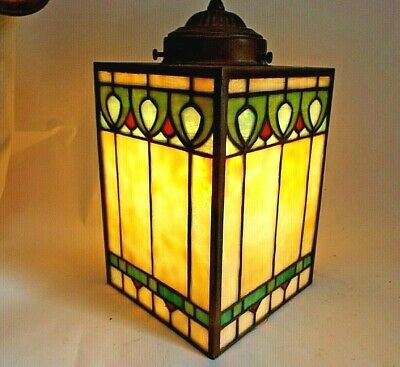 Antique STAINED GLASS LEADED ARTS & CRAFTS MISSION HALL LAMP HANGING Porch LIGHT