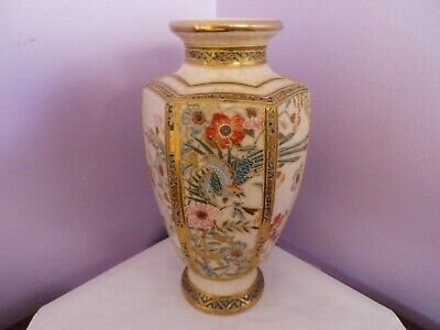 Fab Vintage Pottery Japanese Hexagonal Satsuma Bird & Flowers Vase 23 Cms Tall