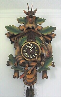 Large Attractive Vintage Cuckoo Clock - Twin Weight