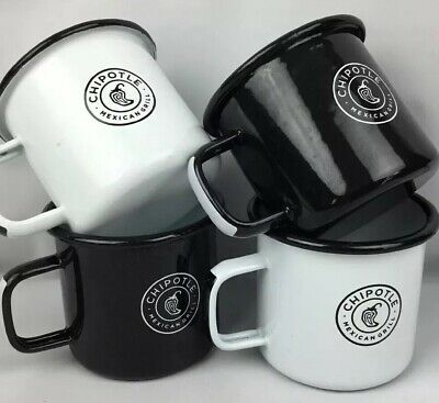 Chipotle Cup Mug Metal Mexican Grill Set Of 4 Black White Camping