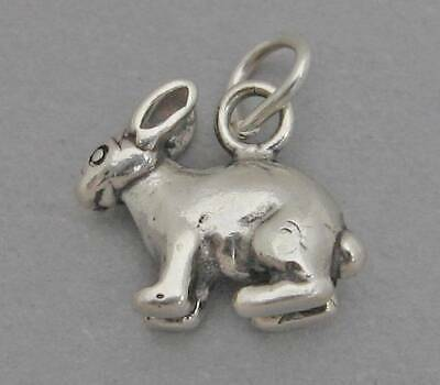 Sterling Silver 3D 20x18mm Easter Rabbit Bunny with Carrot Charm