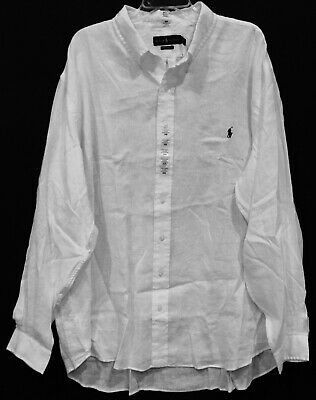 Polo Ralph Lauren Big and Tall Mens White 100% Linen Button-Front Shirt NWT 2XB