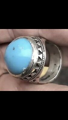 Antique Solid Silver Islamic Arabic Natural Turquoise Stone Ring Rare