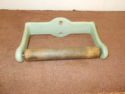 Antique Cast Iron Toilet Paper Holder with Wood Roller Vintage Bathroom Decor