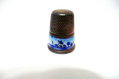 Thimble Vintage Sterling Silver 930 Germany Enamel Band Of Windmill Scene Damage