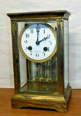 Antique Bailey Banks Biddle French 8 Day Chime Clock Crystal Regulator Working