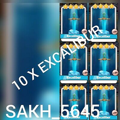 10 x Excalibur :- Coin Master Cards ( Fastest Delivery )