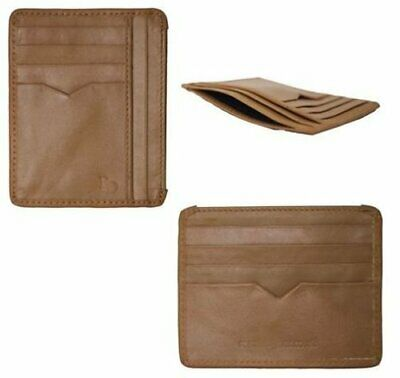Brown Leather Credit Card Wallet Slim Mini ID Travel Holder Pouch Women Ladies