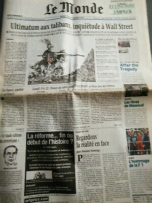 JOURNAL LE MONDE (France) MARDI 18 SEPTEMBRE 2001 complet
