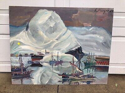 "Original Oil Painting by Willy Friedrich Burger ""Iceland of Swiss Harbor"" Signed"