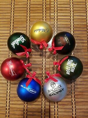 Set of 7 Anheuser Busch Assorted Round Christmas Ornaments - Budweiser, Michelob