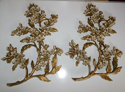 Pair Vintage Dart Industries Syroco Gold 7053 Floral Wall Decor Plaque