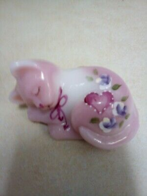 Fenton art glass Pink Rosaline Hand Painted  signed sleeping cat