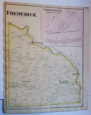 Orig. Colored 1877 Frederick Township,Perkiomen Creek, Montgomery County Pa Map