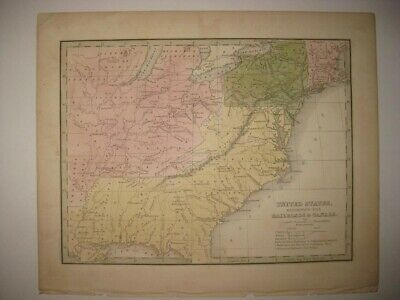 Antique 1835 United States Railroad Canal Bradford Map Territory Native Indians