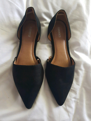 Forever 21 Black Suede Pointed Toe Flats Brand New Never Worn!!