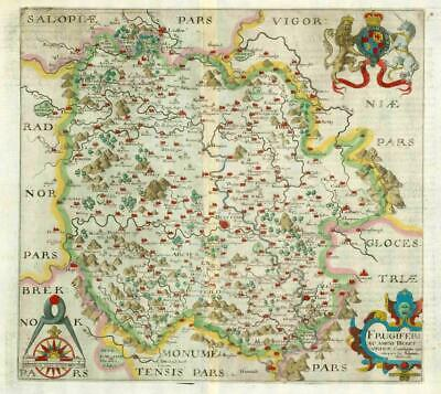 1607 - RARE 1st Edition Original Antique Map HEREFORDSHIRE by Saxton Kip/Hole
