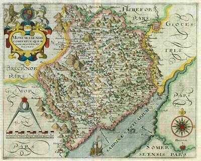 1607 - RARE 1st Edition Antique Map WALES MONMOUTHSHIRE by Saxton Kip/Hole