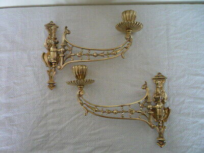 2 Antique Solid Brass Candlestick Holder Wall Sconce Piano Candle Rd 192491