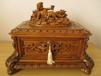 Rare Antique Large Black Forest Jakob Abplanalp Jewelry Box Swiss Wood Carving