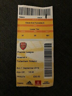 ARSENAL v TOTTENHAM HOTSPUR 01/09/19 USED TICKET SPURS EMIRATES