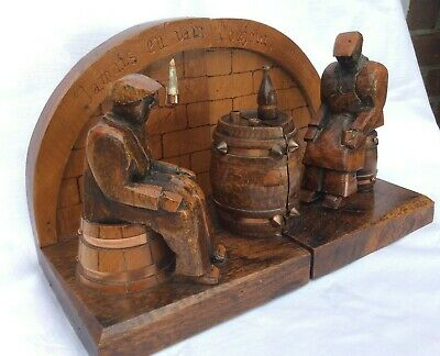 Antique  French Hand Carved Wooden Bookends A Couple In Auberge Tavern Louviers