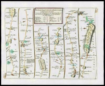 1719 - Antique Road Map LONDON to BARNSTABLE Devonshire Hampshire Somerset (23)