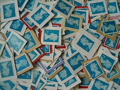 300 GB Second Class Stamps - Unfranked On Paper - Used