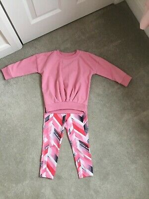 Little Girls Legging And Jumper Set - Pink - Age 3 Next - Worn Good Condition