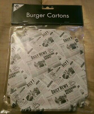 Disposable Takeaway Cardboard Burger Boxes Fast Food Packaging party BBQ 10pk