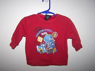 Joe Boxer infant boy 12 M sweatshirt Red CONSTRUCTION TRUCK WORK ZONE DIGGER 12m