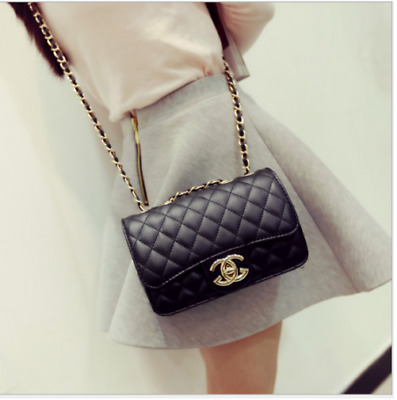 Hot New Women Quilted Chain Bag Pu  Leather Shoulder Crossbody handbag Messenger