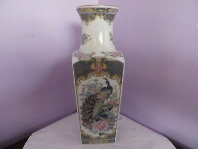 Fab Large Japanese Porcelain Grey Peacocks & Peonys Des Square Vase 26 Cms Tall