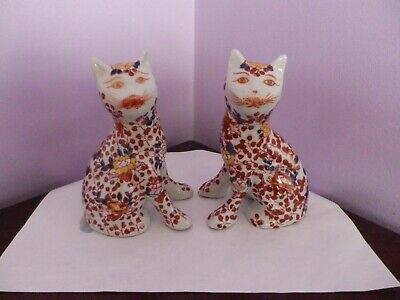 Fab Pair Vintage Japanese Imari Design Cat Figures 15.5 Cms Tall Signed Bases