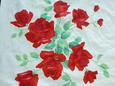 """Vtg Cotton Tablecloth Wilendur Red Roses Floral Print 54 x 69"""" CLEAN & Bright!"""