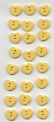 24 Vintage Realistic Bright Yellow Casein Heart Buttons, 15/32, Antique
