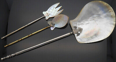 Pair Antique Carved Mother Of Pearl Sardine Servers & Large Server Silver Plated