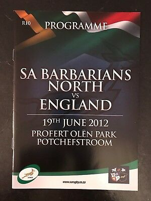 70436 - South Africa BARBARIANS v England 2012 Rugby Programme 19/06 19th June