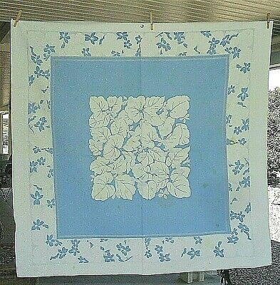 Vintage Blue/White Flower Tablecloth On French Blue 48 X 50 Well Used & Loved
