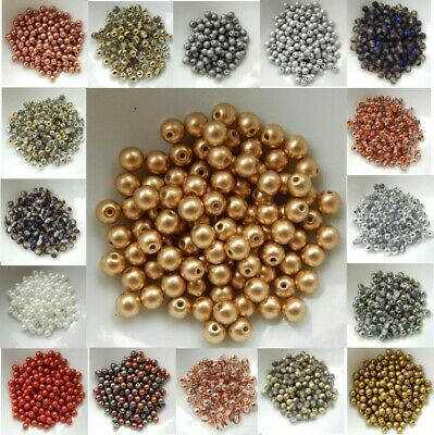 4mm Druk Smooth Round Czech Glass (100 beads)- Choose Color