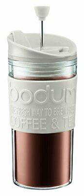 Bodum K11102-913 Travel Press Set Coffee Maker with Extra Lid, 12 oz, White