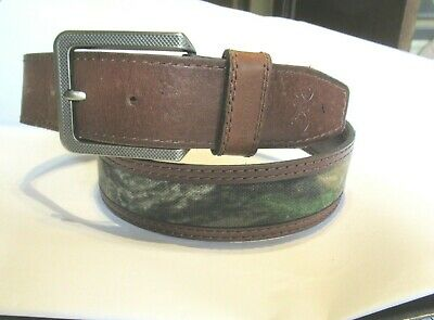 Dark Brown//Mossy Oak Country 34 Browning Men/'s Leather Camo Insert Tab Belt