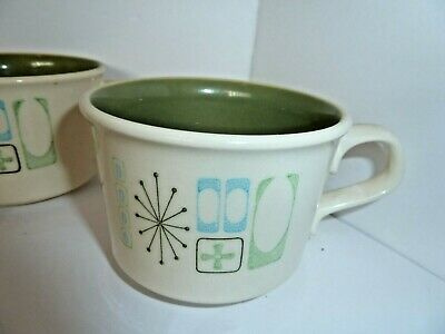 Set of 3 Atomic Cathay Taylorstone Tea or Coffee Mugs 1950s Mid-Century