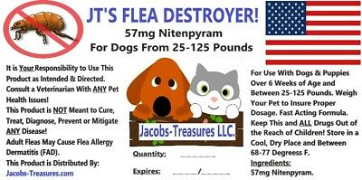JT'S Flea Destroyer For Dogs & Cats, 25-125 Pounds, 12 Tablets, 57 mg Nitenpyram