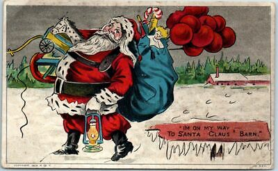 "Vintage Christmas Greetings Postcard ""I'm on My Way to SANTA CLAUS' BARN"" c1908"