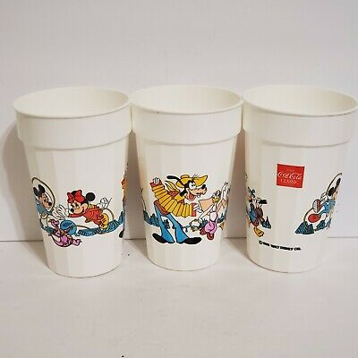 3 Disney World Epcot Center Character Cups Coca Cola 1988 Figment Mickey Mouse