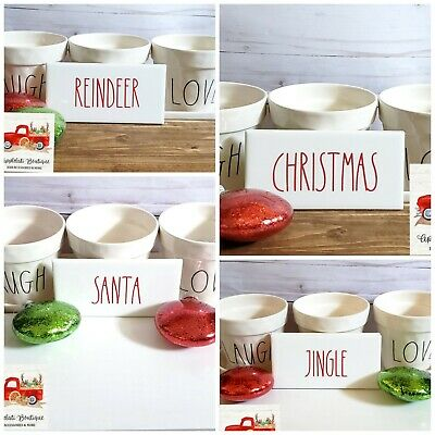 Rae Dunn Sign Set inspired - Tiered Tray Decor - Home Signs Set of Xmas