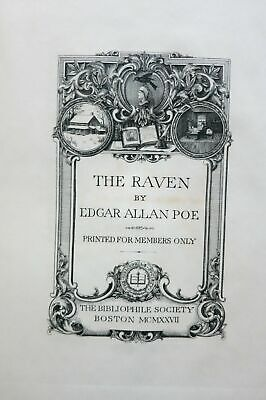 Edgar Allan Poe / RAVEN with THANATOPSIS by William Cullen Bryant Limited ed