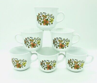 Vintage CORELLE INDIAN SUMMER CORNING MUGS Coffee TEA Cups Mugs SET of 6 Mint