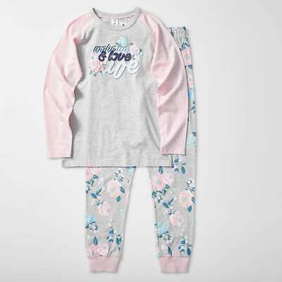 Girls size 12 LOVE LIFE Cotton  Long sleeve top & pants  pyjamas pjs Target NEW
